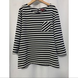 Merona Striped 3/4 Sleeve Blouse Size Large